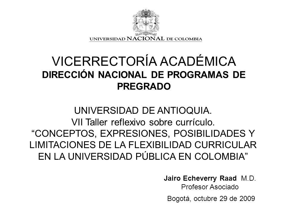 VICERRECTORÍA ACADÉMICA DIRECCIÓN NACIONAL DE PROGRAMAS DE PREGRADO Bogotá, octubre 29 de 2009 Jairo Echeverry Raad M.D. Profesor Asociado UNIVERSIDAD