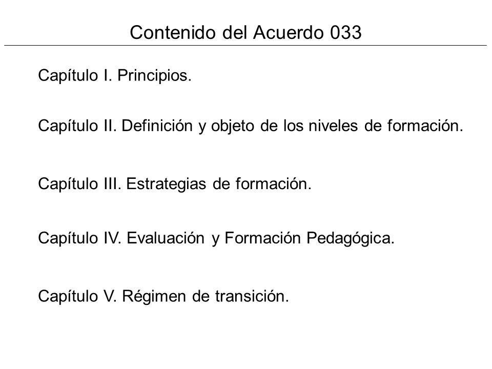 Contenido del Acuerdo 033 Capítulo I. Principios. Capítulo II. Definición y objeto de los niveles de formación. Capítulo III. Estrategias de formación