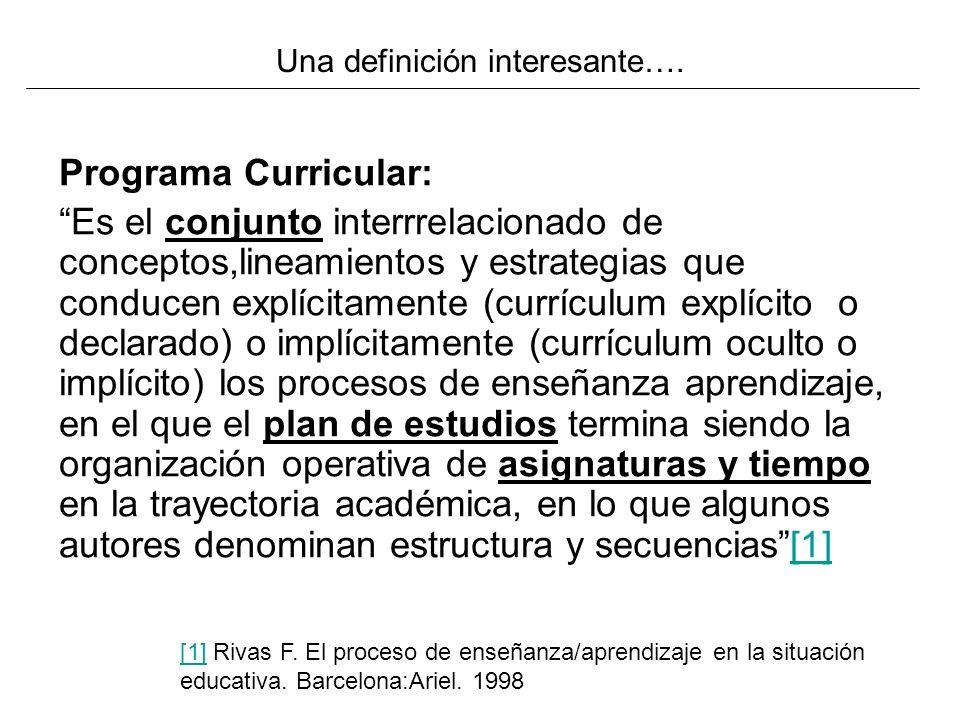 Programa Curricular: Es el conjunto interrrelacionado de conceptos,lineamientos y estrategias que conducen explícitamente (currículum explícito o decl