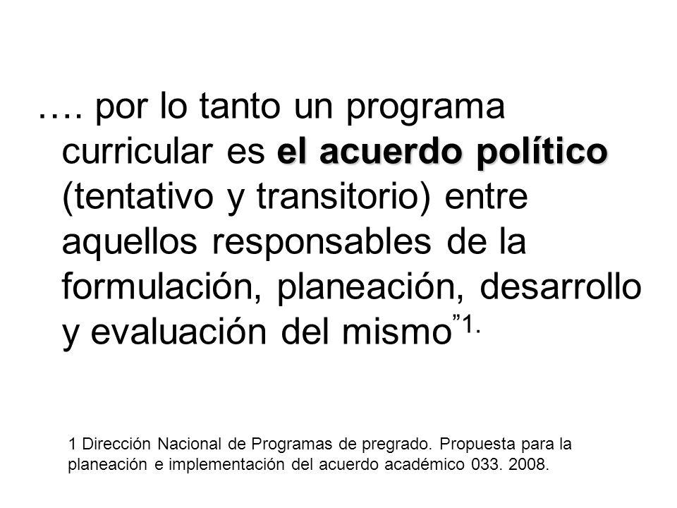 el acuerdo político …. por lo tanto un programa curricular es el acuerdo político (tentativo y transitorio) entre aquellos responsables de la formulac