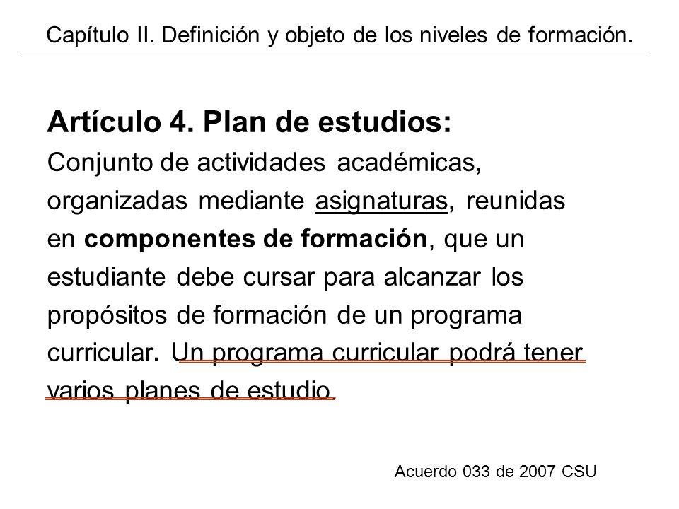 Artículo 4. Plan de estudios: Conjunto de actividades académicas, organizadas mediante asignaturas, reunidas en componentes de formación, que un estud