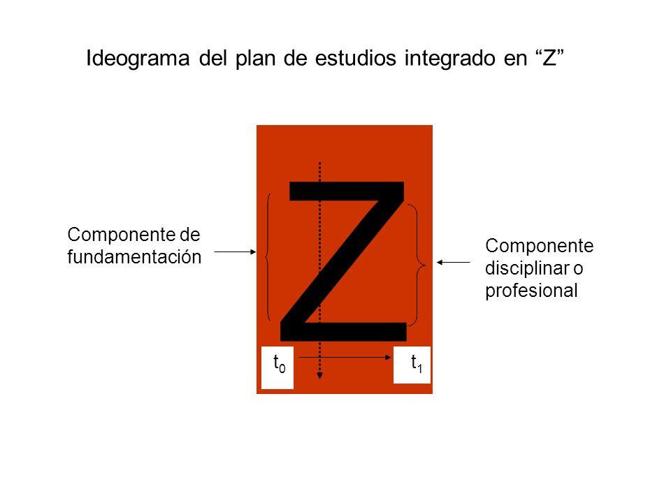 Z Componente de fundamentación t 1 t 0 Componente disciplinar o profesional Ideograma del plan de estudios integrado en Z