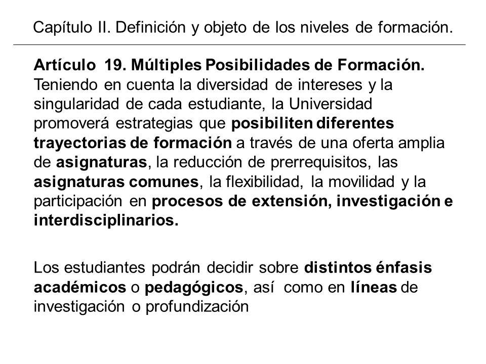 Capítulo II. Definición y objeto de los niveles de formación. Los estudiantes podrán decidir sobre distintos énfasis académicos o pedagógicos, así com