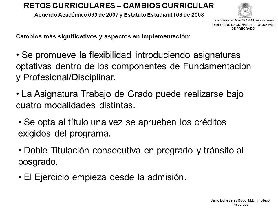 RETOS CURRICULARES – CAMBIOS CURRICULARES Acuerdo Académico 033 de 2007 y Estatuto Estudiantil 08 de 2008 Cambios más significativos y aspectos en imp