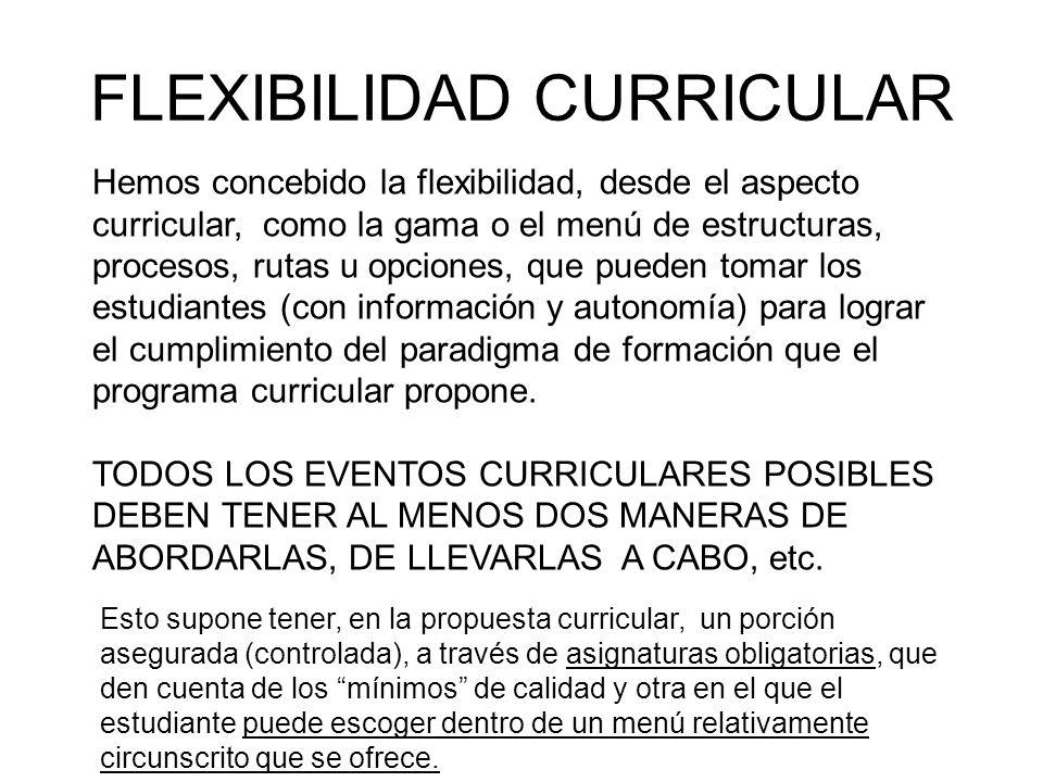 FLEXIBILIDAD CURRICULAR Hemos concebido la flexibilidad, desde el aspecto curricular, como la gama o el menú de estructuras, procesos, rutas u opcione