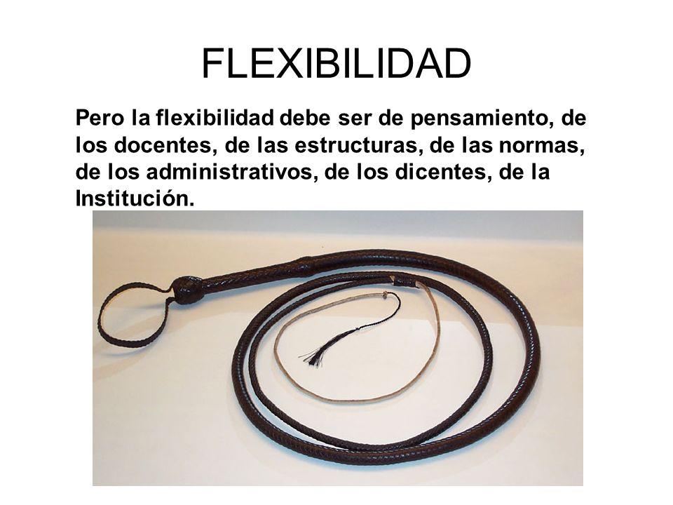 FLEXIBILIDAD Pero la flexibilidad debe ser de pensamiento, de los docentes, de las estructuras, de las normas, de los administrativos, de los dicentes