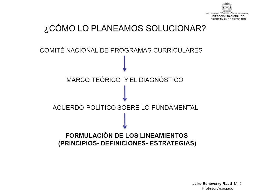 Jairo Echeverry Raad M.D. Profesor Asociado DIRECCIÓN NACIONAL DE PROGRAMAS DE PREGRADO ¿CÓMO LO PLANEAMOS SOLUCIONAR? COMITÉ NACIONAL DE PROGRAMAS CU