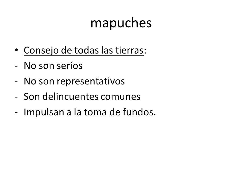 mapuches Consejo de todas las tierras: -No son serios -No son representativos -Son delincuentes comunes -Impulsan a la toma de fundos.
