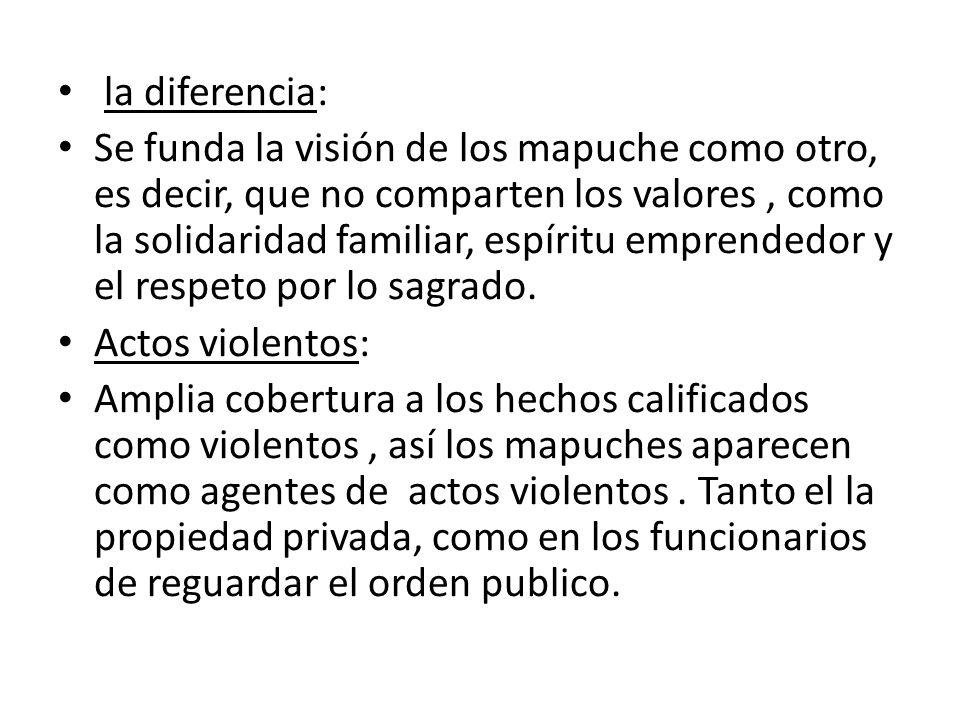 la diferencia: Se funda la visión de los mapuche como otro, es decir, que no comparten los valores, como la solidaridad familiar, espíritu emprendedor