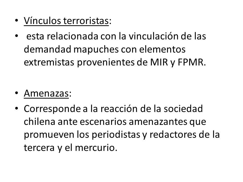 Vínculos terroristas: esta relacionada con la vinculación de las demandad mapuches con elementos extremistas provenientes de MIR y FPMR. Amenazas: Cor
