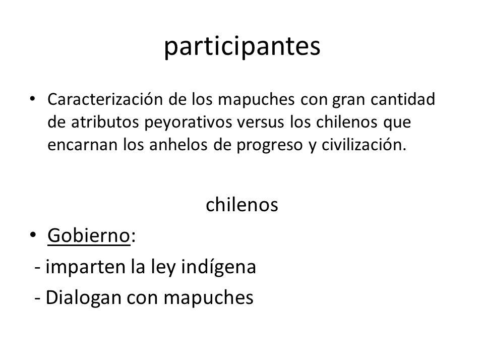 participantes Caracterización de los mapuches con gran cantidad de atributos peyorativos versus los chilenos que encarnan los anhelos de progreso y ci