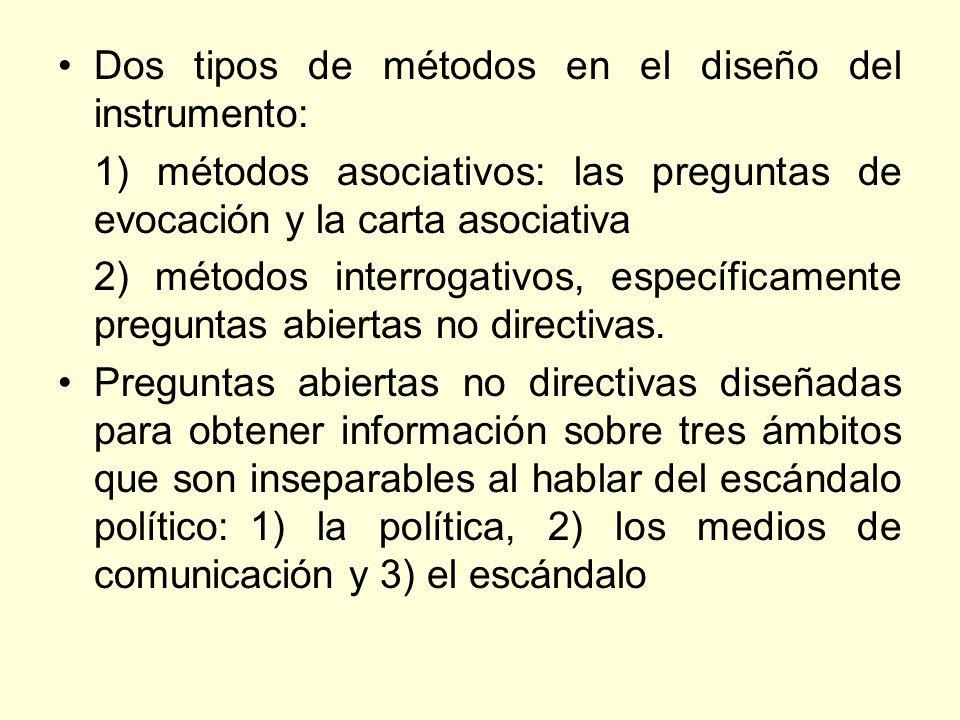 Dos tipos de métodos en el diseño del instrumento: 1) métodos asociativos: las preguntas de evocación y la carta asociativa 2) métodos interrogativos,