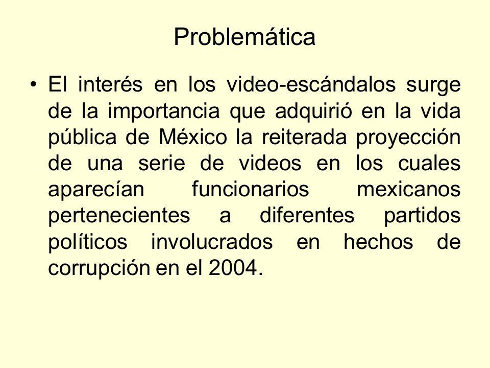 Problemática El interés en los video-escándalos surge de la importancia que adquirió en la vida pública de México la reiterada proyección de una serie