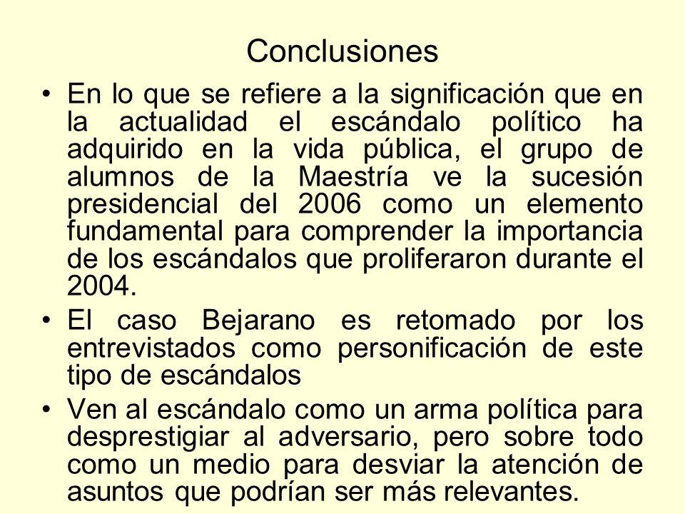 Conclusiones En lo que se refiere a la significación que en la actualidad el escándalo político ha adquirido en la vida pública, el grupo de alumnos d