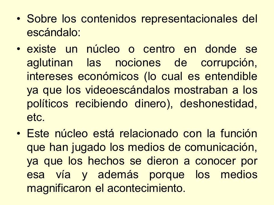 Sobre los contenidos representacionales del escándalo: existe un núcleo o centro en donde se aglutinan las nociones de corrupción, intereses económico