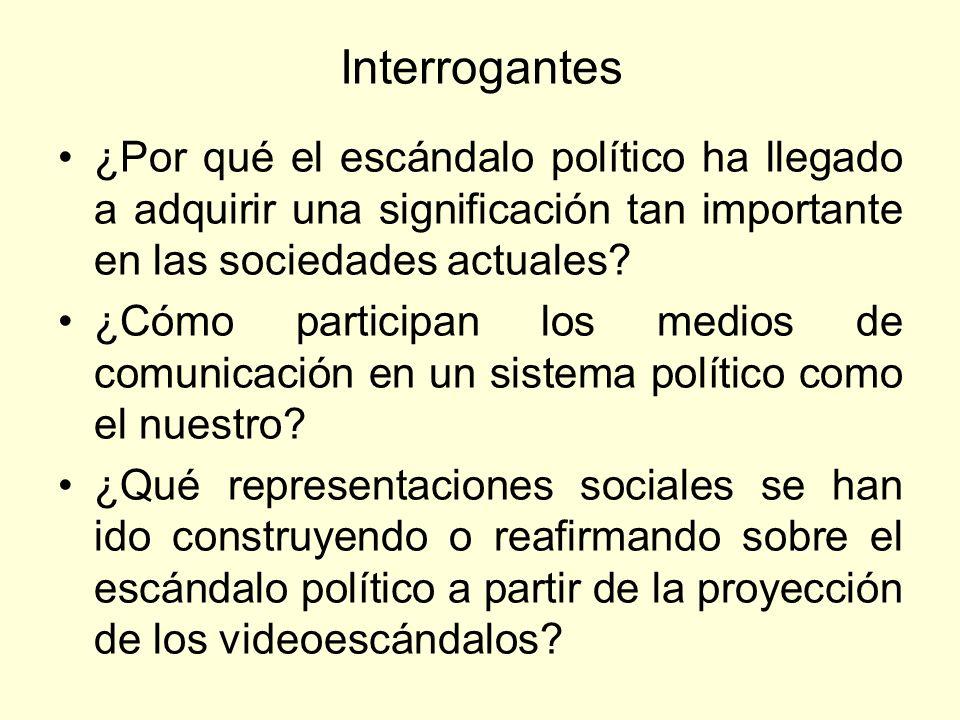 Interrogantes ¿Por qué el escándalo político ha llegado a adquirir una significación tan importante en las sociedades actuales? ¿Cómo participan los m