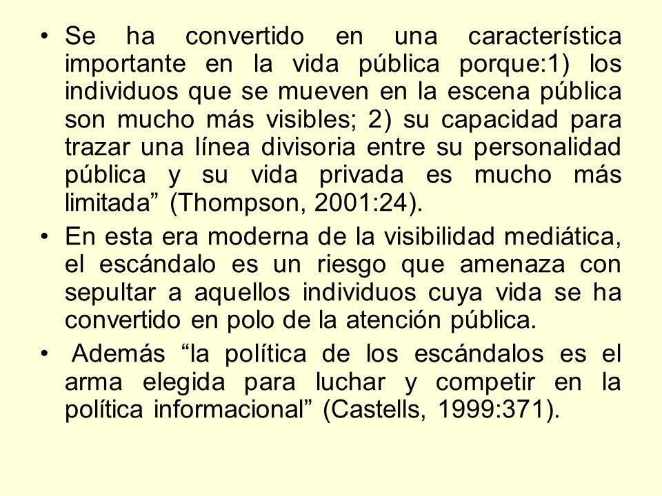 Se ha convertido en una característica importante en la vida pública porque:1) los individuos que se mueven en la escena pública son mucho más visible