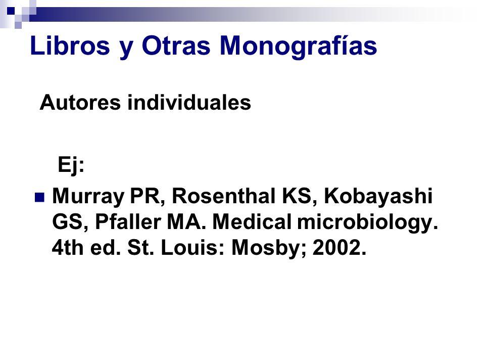 Libros y Otras Monografías Autores individuales Ej: Murray PR, Rosenthal KS, Kobayashi GS, Pfaller MA. Medical microbiology. 4th ed. St. Louis: Mosby;