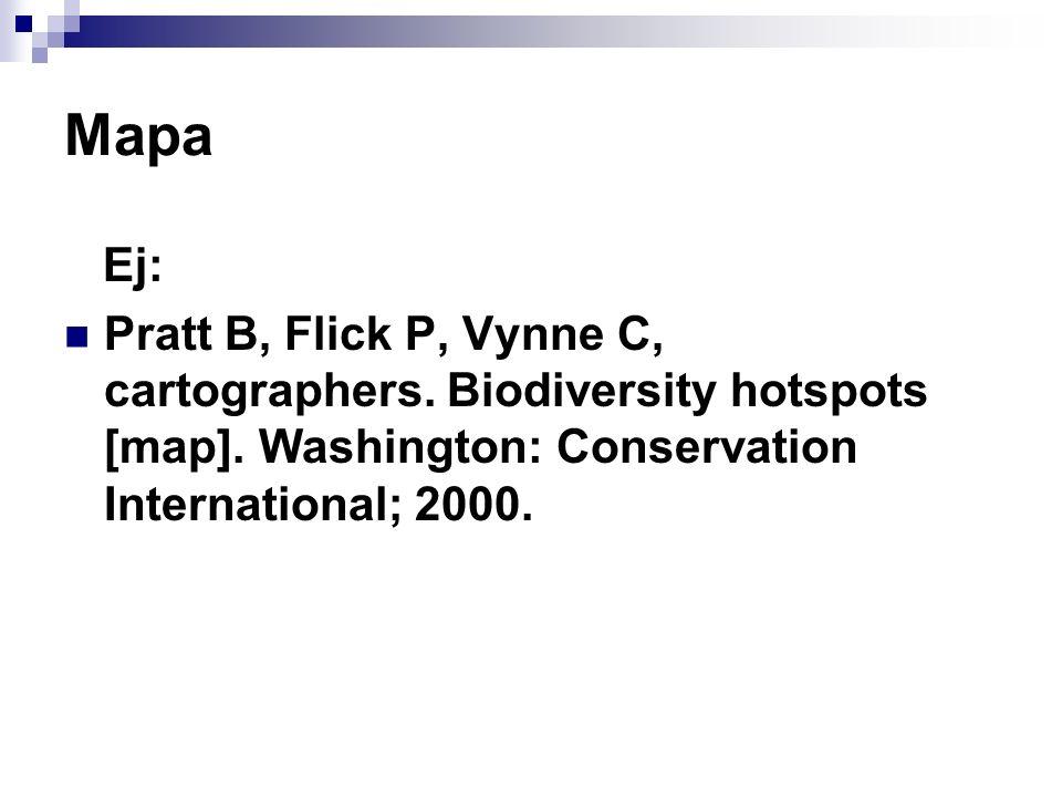 Mapa Ej: Pratt B, Flick P, Vynne C, cartographers. Biodiversity hotspots [map]. Washington: Conservation International; 2000.