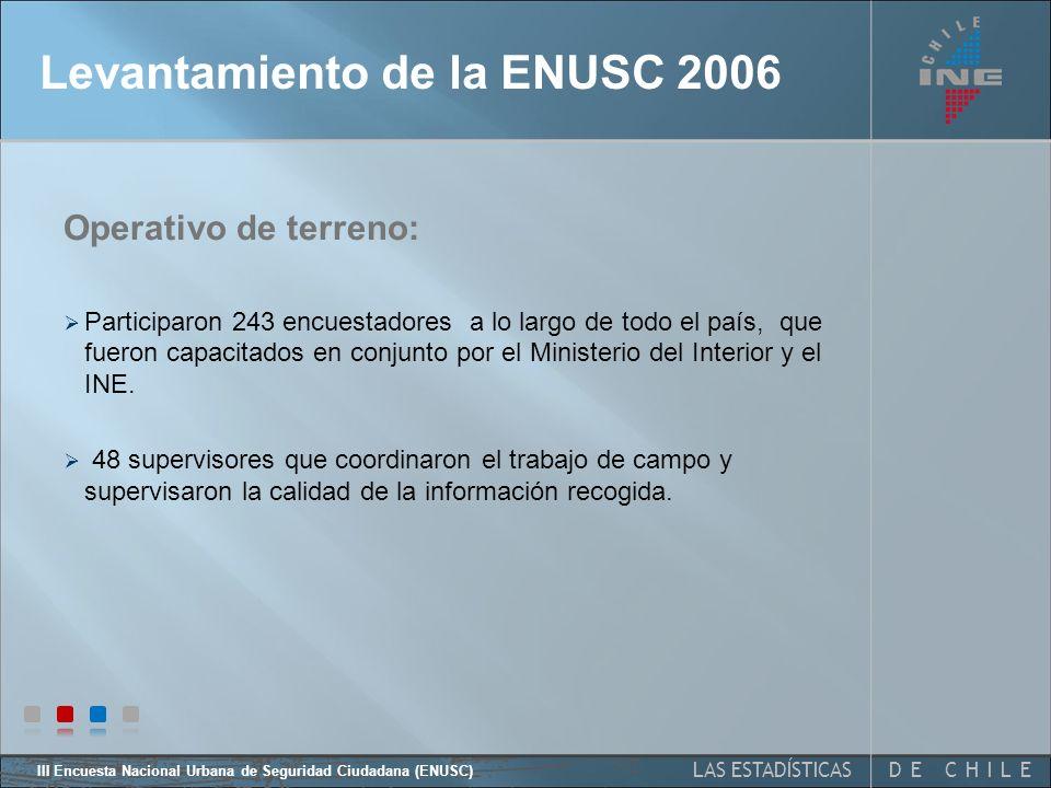 III Encuesta Nacional Urbana de Seguridad Ciudadana (ENUSC) 10 Levantamiento ENUSC 2006
