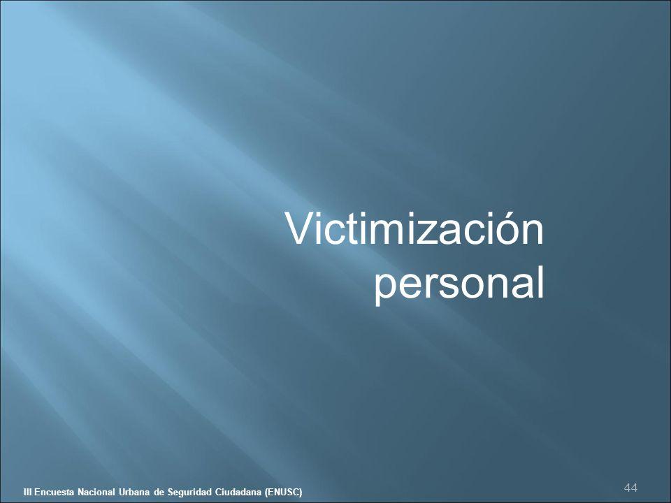 DE CHILELAS ESTADÍSTICAS III Encuesta Nacional Urbana de Seguridad Ciudadana (ENUSC) Tendencia delitos denunciados Respecto de 2003, la variación en la proporción de delitos denunciados es estadísticamente significativa