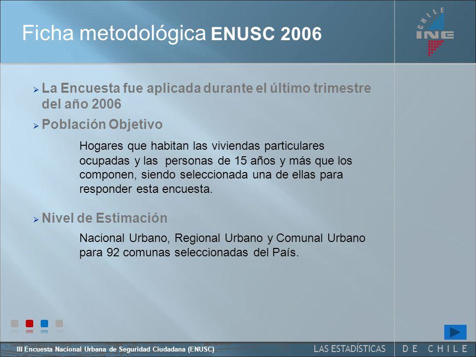III Encuesta Nacional Urbana de Seguridad Ciudadana (ENUSC) 5 Ficha técnica y metodológica ENUSC 2006