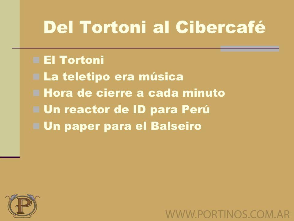 Del Tortoni al Cibercafé El Tortoni La teletipo era música Hora de cierre a cada minuto Un reactor de ID para Perú Un paper para el Balseiro