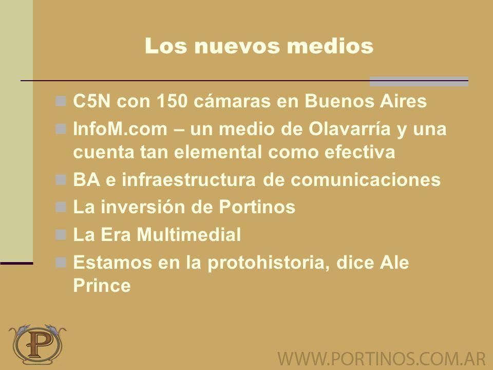 Los nuevos medios C5N con 150 cámaras en Buenos Aires InfoM.com – un medio de Olavarría y una cuenta tan elemental como efectiva BA e infraestructura de comunicaciones La inversión de Portinos La Era Multimedial Estamos en la protohistoria, dice Ale Prince
