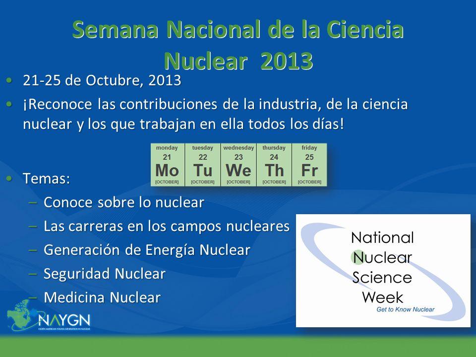 Semana Nacional de la Ciencia Nuclear 2013 21-25 de Octubre, 201321-25 de Octubre, 2013 ¡Reconoce las contribuciones de la industria, de la ciencia nu