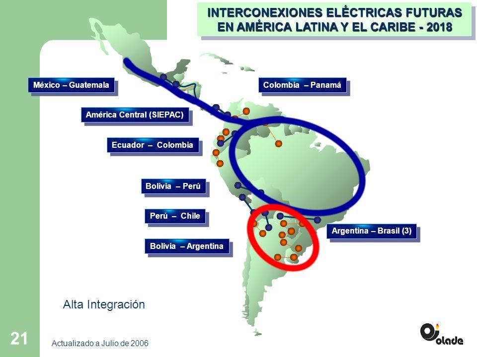 21 América Central (SIEPAC) México – Guatemala Colombia – Panamá Bolivia – Perú Perú – Chile INTERCONEXIONES ELÉCTRICAS FUTURAS EN AMÉRICA LATINA Y EL CARIBE - 2018 Ecuador – Colombia Bolivia – Argentina Actualizado a Julio de 2006 Argentina – Brasil (3) Alta Integración