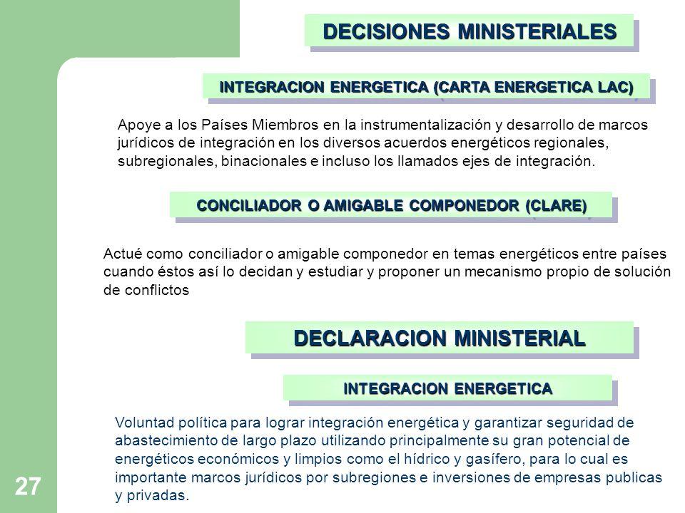 27 CONCILIADOR O AMIGABLE COMPONEDOR (CLARE) Actué como conciliador o amigable componedor en temas energéticos entre países cuando éstos así lo decidan y estudiar y proponer un mecanismo propio de solución de conflictos INTEGRACION ENERGETICA (CARTA ENERGETICA LAC) Apoye a los Países Miembros en la instrumentalización y desarrollo de marcos jurídicos de integración en los diversos acuerdos energéticos regionales, subregionales, binacionales e incluso los llamados ejes de integración.