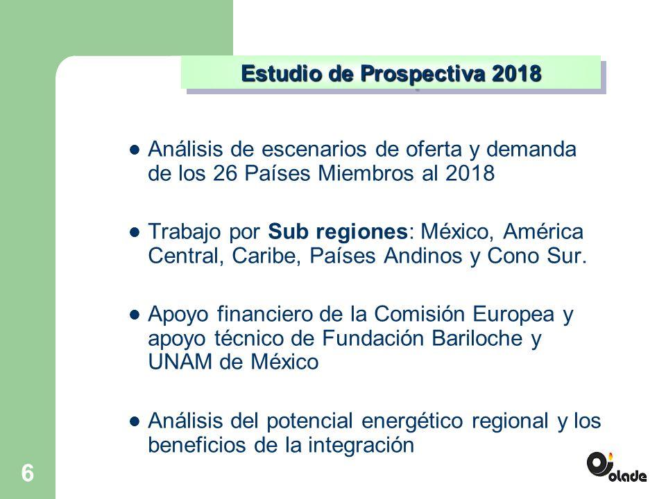 6 Análisis de escenarios de oferta y demanda de los 26 Países Miembros al 2018 Trabajo por Sub regiones: México, América Central, Caribe, Países Andinos y Cono Sur.