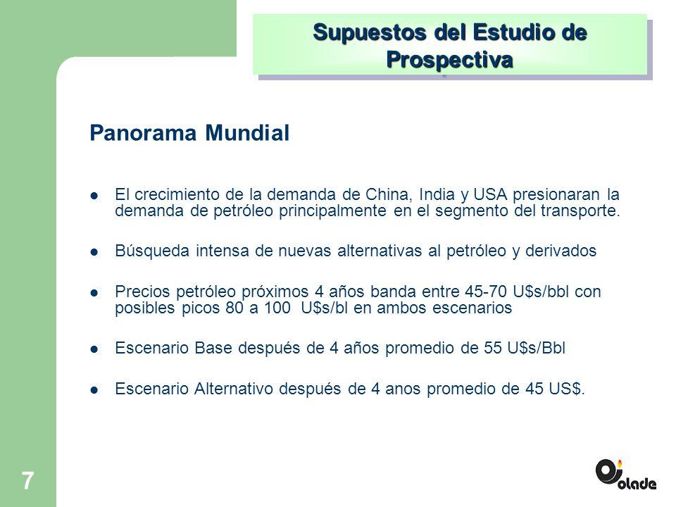 7 El crecimiento de la demanda de China, India y USA presionaran la demanda de petróleo principalmente en el segmento del transporte.