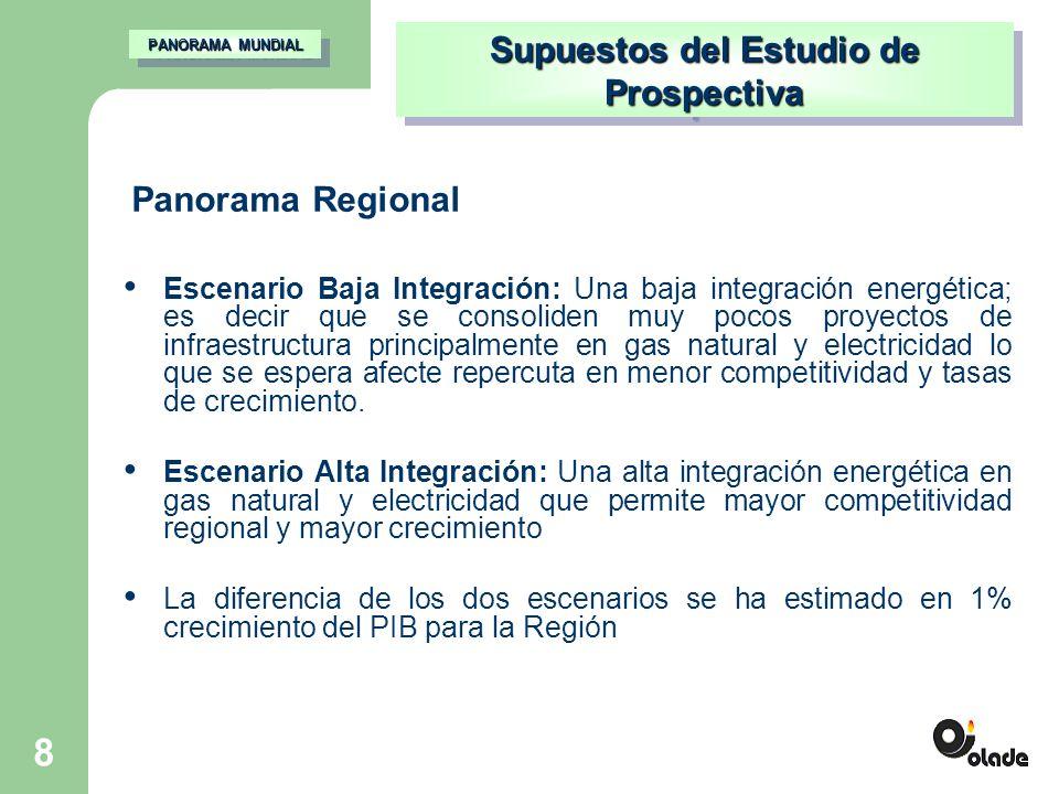 8 Escenario Baja Integración: Una baja integración energética; es decir que se consoliden muy pocos proyectos de infraestructura principalmente en gas natural y electricidad lo que se espera afecte repercuta en menor competitividad y tasas de crecimiento.