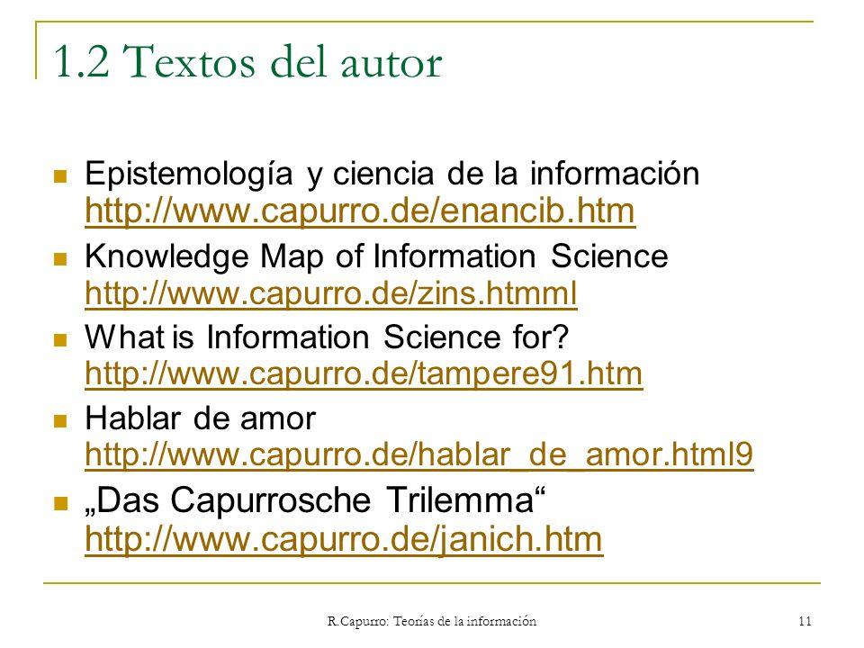 R.Capurro: Teorías de la información 11 1.2 Textos del autor Epistemología y ciencia de la información http://www.capurro.de/enancib.htm http://www.ca
