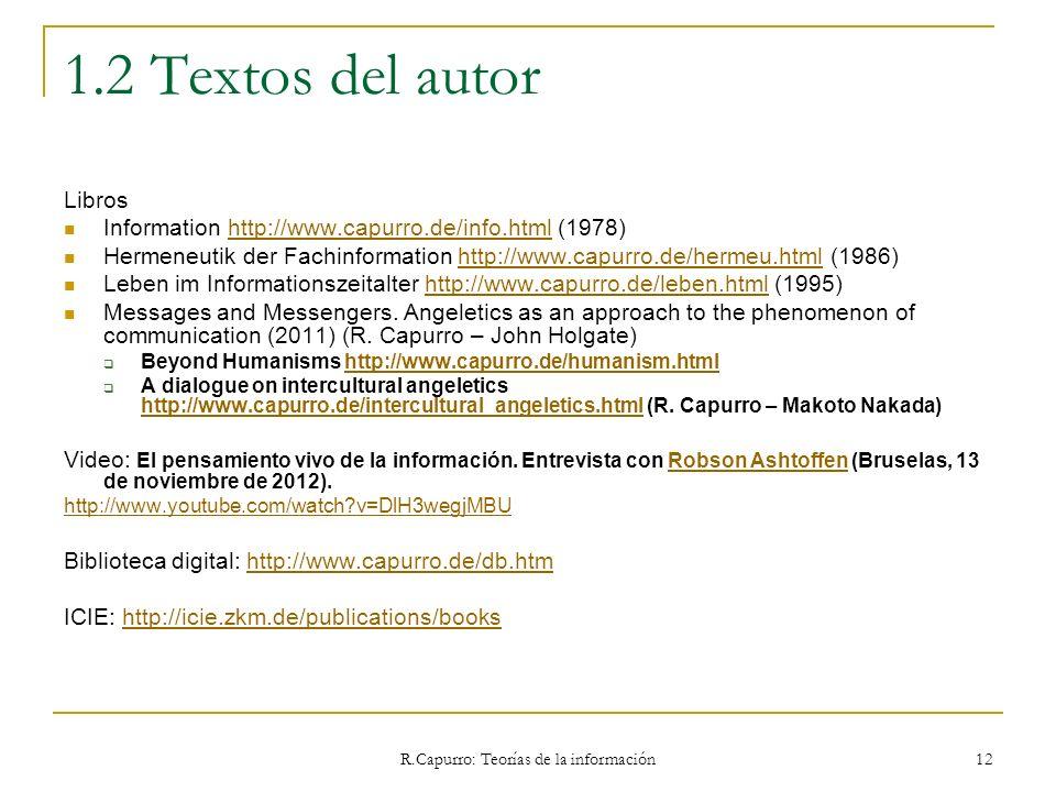 R.Capurro: Teorías de la información 12 1.2 Textos del autor Libros Information http://www.capurro.de/info.html (1978)http://www.capurro.de/info.html