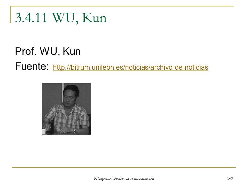R.Capurro: Teorías de la información 169 3.4.11 WU, Kun Prof. WU, Kun Fuente: http://bitrum.unileon.es/noticias/archivo-de-noticias http://bitrum.unil
