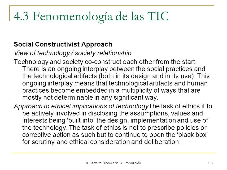 R.Capurro: Teorías de la información 192 4.3 Fenomenología de las TIC Social Constructivist Approach View of technology / society relationship Technol