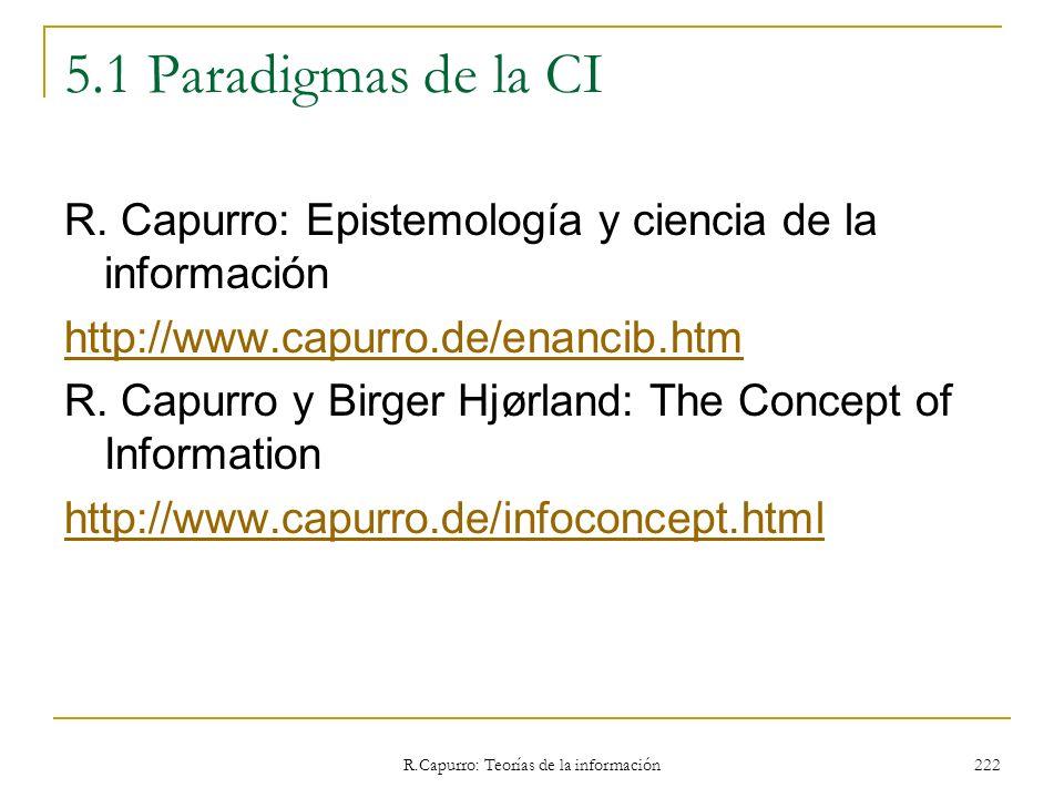 R.Capurro: Teorías de la información 222 5.1 Paradigmas de la CI R. Capurro: Epistemología y ciencia de la información http://www.capurro.de/enancib.h