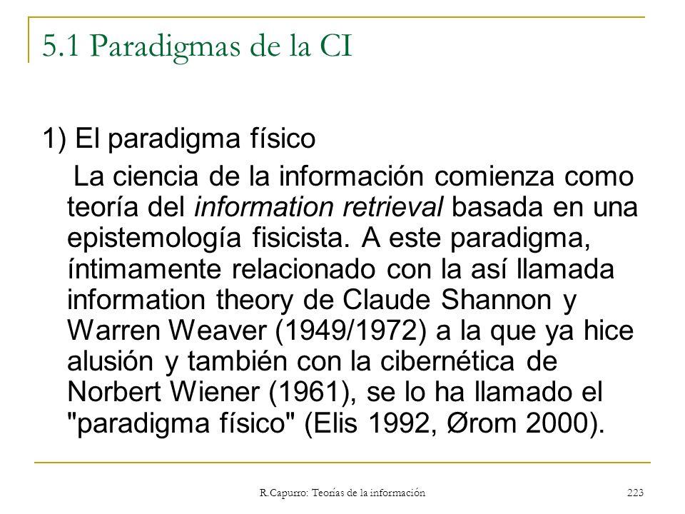 R.Capurro: Teorías de la información 223 5.1 Paradigmas de la CI 1) El paradigma físico La ciencia de la información comienza como teoría del informat