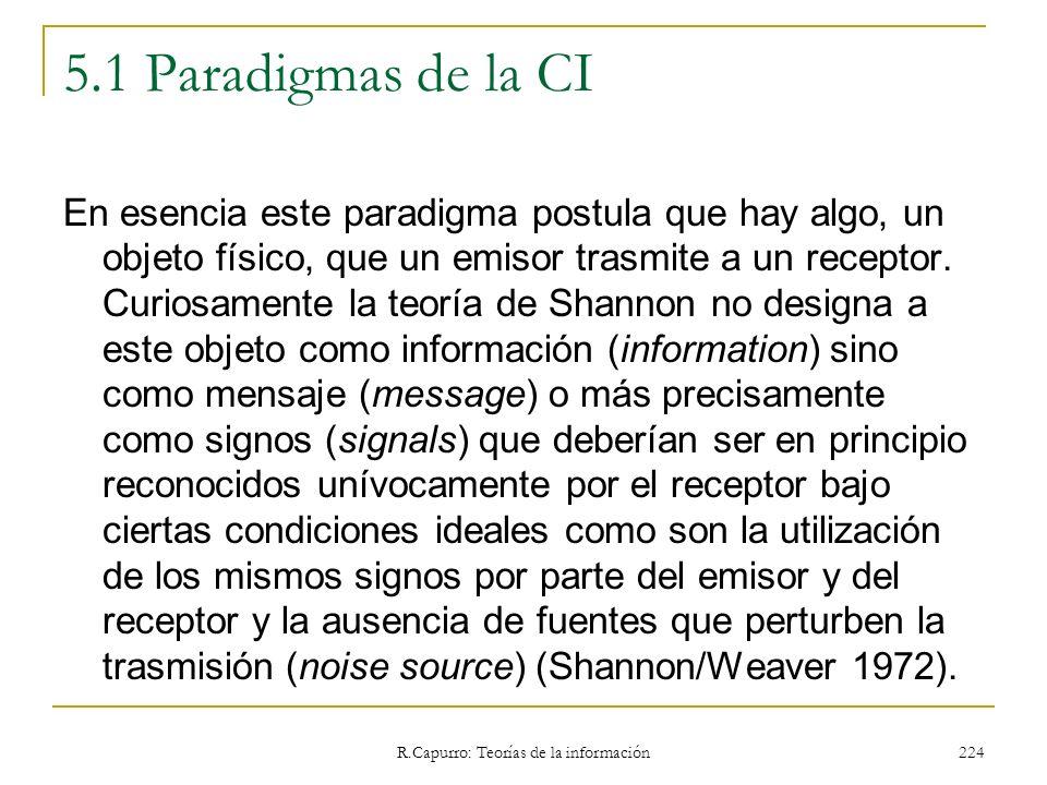 R.Capurro: Teorías de la información 224 5.1 Paradigmas de la CI En esencia este paradigma postula que hay algo, un objeto físico, que un emisor trasm