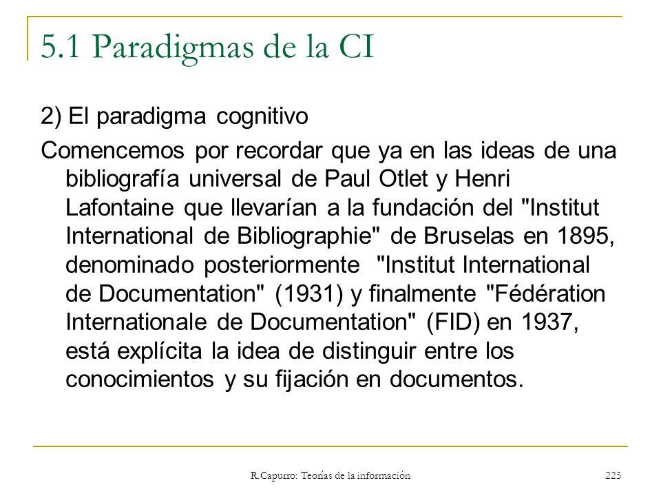 R.Capurro: Teorías de la información 225 5.1 Paradigmas de la CI 2) El paradigma cognitivo Comencemos por recordar que ya en las ideas de una bibliogr
