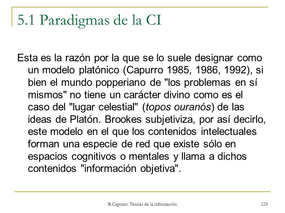 R.Capurro: Teorías de la información 229 5.1 Paradigmas de la CI Esta es la razón por la que se lo suele designar como un modelo platónico (Capurro 19