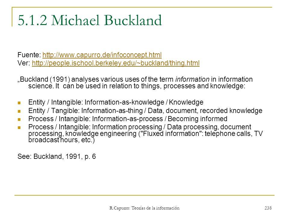 R.Capurro: Teorías de la información 238 5.1.2 Michael Buckland Fuente: http://www.capurro.de/infoconcept.htmlhttp://www.capurro.de/infoconcept.html V