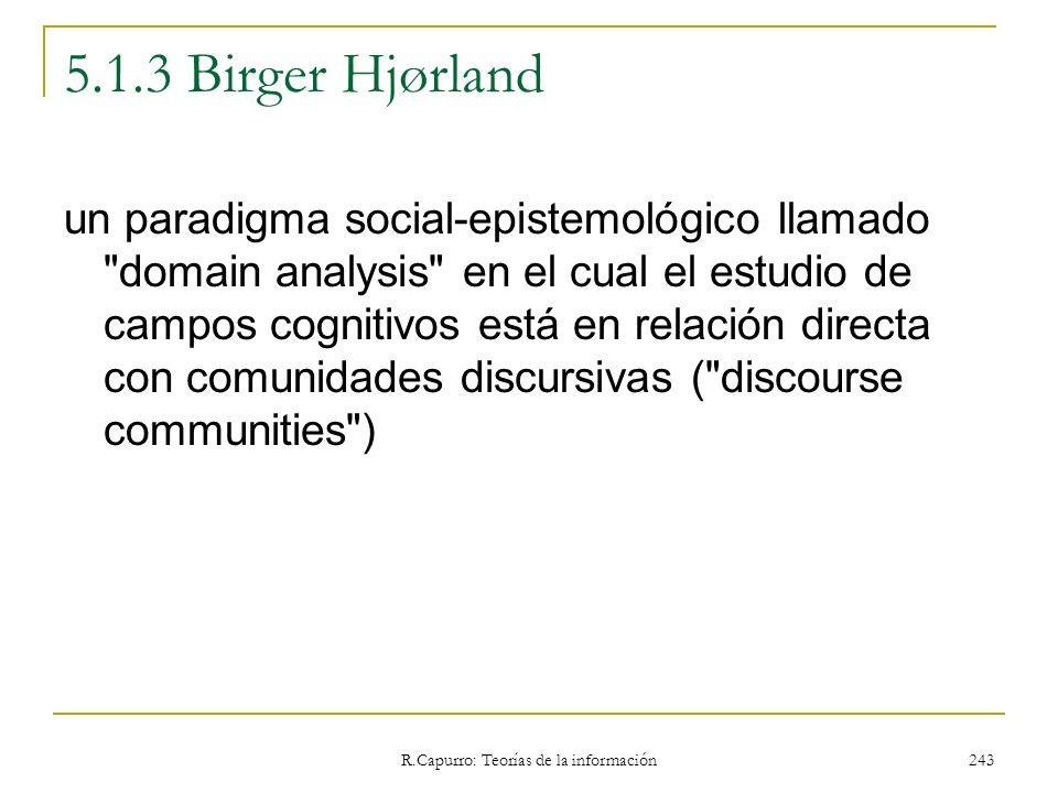 R.Capurro: Teorías de la información 243 5.1.3 Birger Hjørland un paradigma social-epistemológico llamado