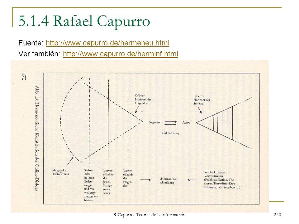 R.Capurro: Teorías de la información 250 5.1.4 Rafael Capurro Fuente: http://www.capurro.de/hermeneu.htmlhttp://www.capurro.de/hermeneu.html Ver tambi