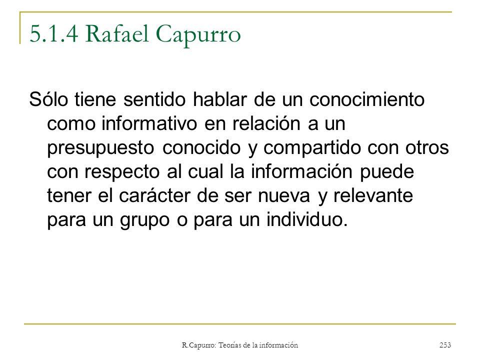 R.Capurro: Teorías de la información 253 5.1.4 Rafael Capurro Sólo tiene sentido hablar de un conocimiento como informativo en relación a un presupues