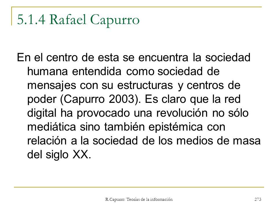 R.Capurro: Teorías de la información 273 5.1.4 Rafael Capurro En el centro de esta se encuentra la sociedad humana entendida como sociedad de mensajes