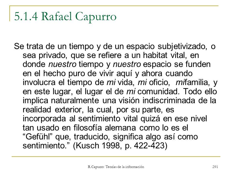 R.Capurro: Teorías de la información 291 5.1.4 Rafael Capurro Se trata de un tiempo y de un espacio subjetivizado, o sea privado, que se refiere a un