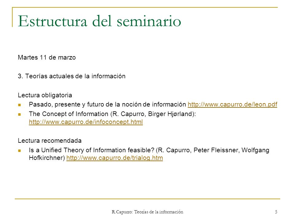 R.Capurro: Teorías de la información 76 3.1 Warren Weaver The mathematical theory of the engineering aspects of communication, as developped chiefly by Claude Shannon at the Bell Telephone Laboratories, admittedly applies in the first instance only to problem A, namely, the technical problem of accuracy of transference of various types of signals from sender to receiver.